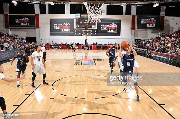 Yuki Togashi of the Dallas Mavericks goes up for a shot against the Phoenix Suns on July 18 2014 at the Cox Pavilion in Las Vegas Nevada NOTE TO USER...