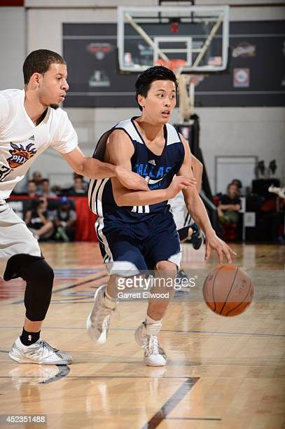 Yuki Togashi of the Dallas Mavericks handles the ball against the Phoenix Suns on July 18 2014 at the Cox Pavilion in Las Vegas Nevada NOTE TO USER...
