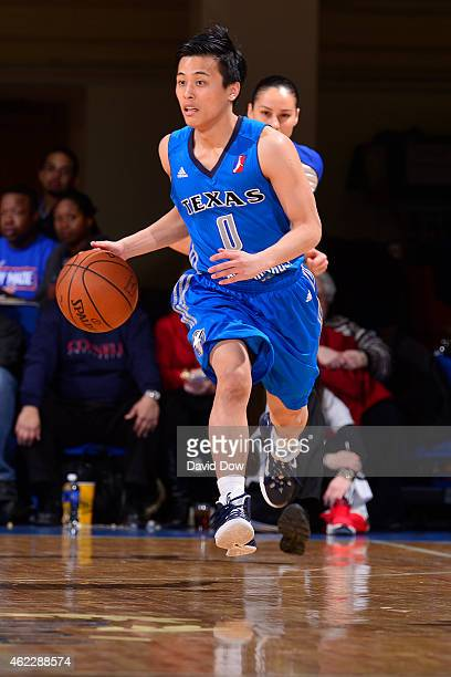 Yuki Togashi of the Texas Legends dribbles the ball against the Westchester Knicks at the Westchester County Center on January 24 2015 in Westchester...