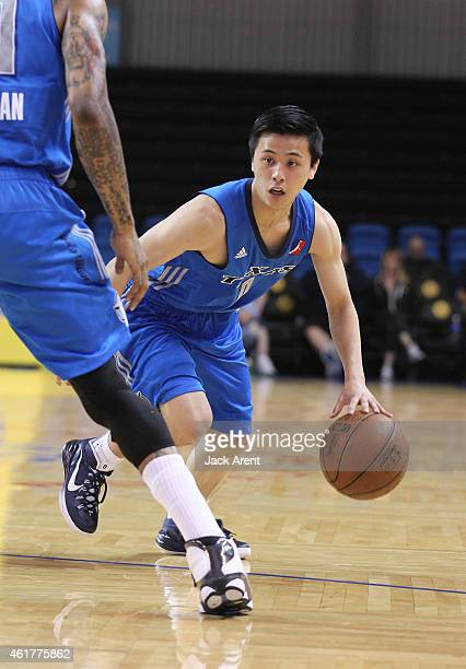 Yuki Togashi of the Texas Legends dribbles the ball against the Maine Red Claws of the during the 2015 NBA DLeague Showcase presented by SAMSUNG on...