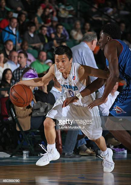 Yuki Togashi of the Texas Legends drives to the basket against the Oklahoma City Blue during an NBDL game on December 5 2014 at the Dr Pepper Arena...