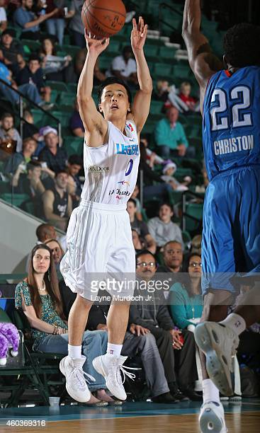 Yuki Togashi of the Texas Legends takes a shot against the Oklahoma City Blue during an NBDL game on December 5 2014 at the Dr Pepper Arena in Frisco...