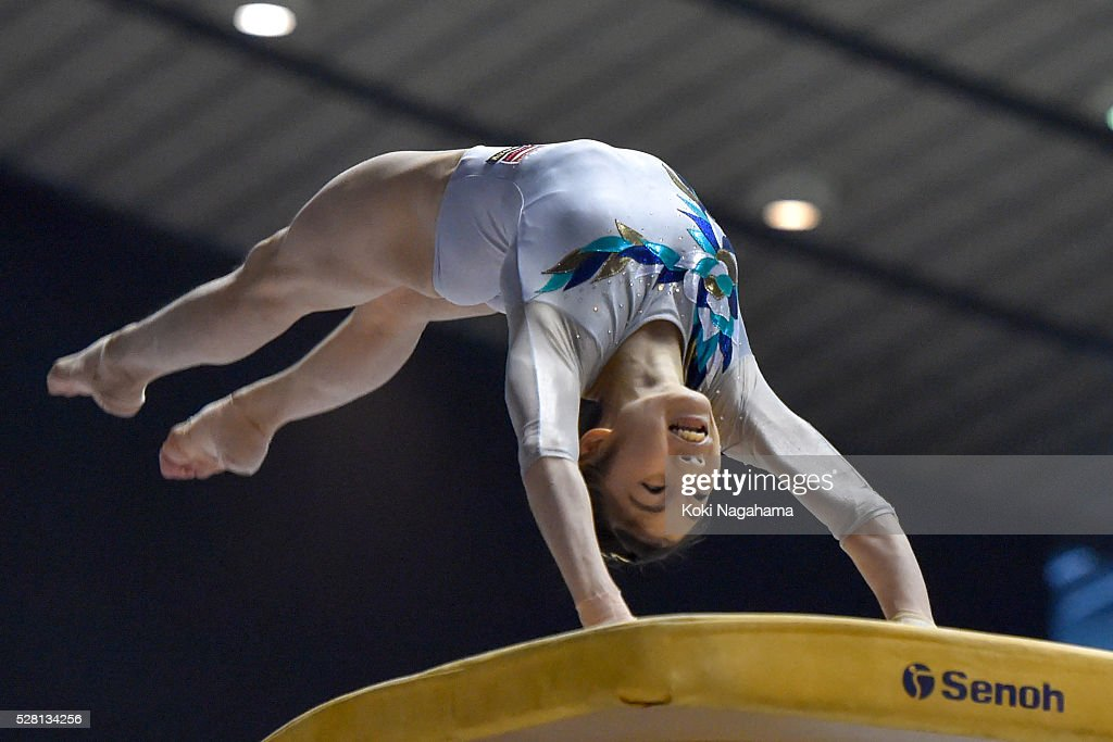 <a gi-track='captionPersonalityLinkClicked' href=/galleries/search?phrase=Yuki+Uchiyama+-+Gymnast&family=editorial&specificpeople=15150260 ng-click='$event.stopPropagation()'>Yuki Uchiyama</a> competes in the Horce Vault during the Artistic Gymnastics NHK Trophy at Yoyogi National Gymnasium on May 4, 2016 in Tokyo, Japan.