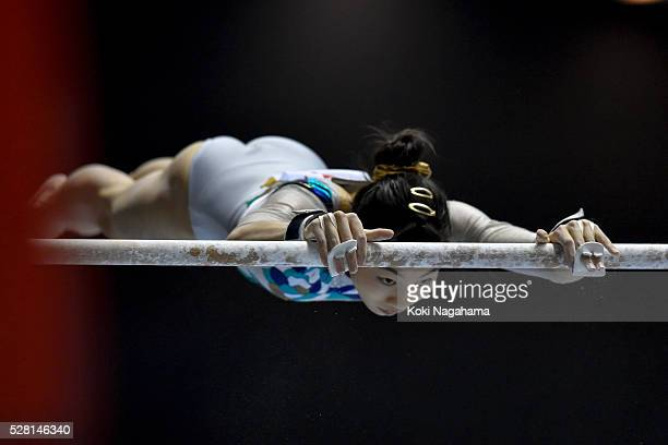 Yuki Uchiyama competes in the Uneven Parallel Bars during the Artistic Gymnastics NHK Trophy at Yoyogi National Gymnasium on May 4 2016 in Tokyo Japan