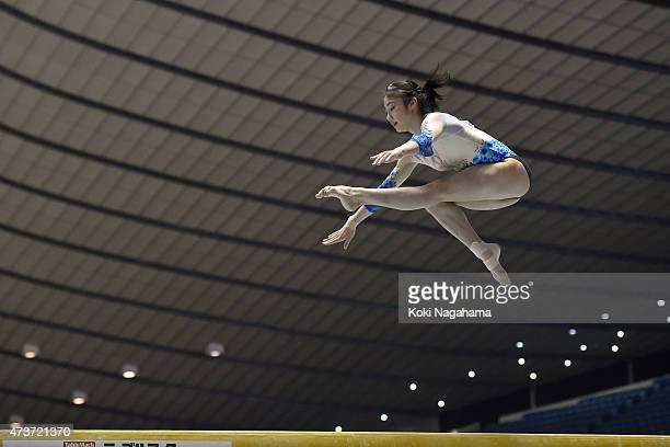 Yuki Uchiyama competes on the Balance Beam during the Artistic Gymnastics NHK Trophy at Yoyogi National Gymnasium on May 17 2015 in Tokyo Japan