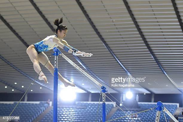 Yuki Uchiyama competes on the Uneven Bars during the Artistic Gymnastics NHK Trophy at Yoyogi National Gymnasium on May 17 2015 in Tokyo Japan
