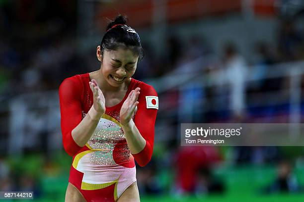 Yuki Uchiyama of Japan reacts after competing on the balance beam during Women's qualification for Artistic Gymnastics on Day 2 of the Rio 2016...