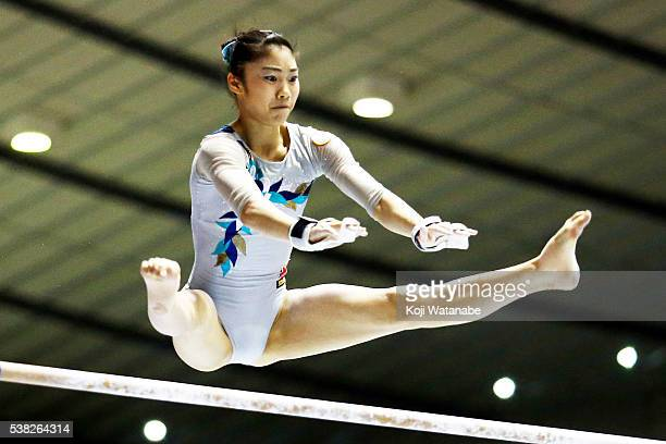 Yuki Uchiyama on the uneven bars during the AllJapan Gymnastic Appratus Championshipsat Yoyogi National Gymnasium on June 5 2016 in Tokyo Japan