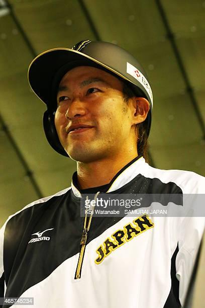 Yuki Yanagita o#44 of Samurai Japan in actionduring Samurai Japan v All Euro match at the Tokyo Dome on March 10 2015 in Tokyo Japan