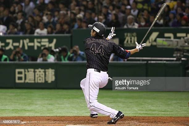 Yuki Yanagita of Samurai Japan hits a double in the sixth inning during the game four of Samurai Japan and MLB All Stars at Tokyo Dome on November 16...