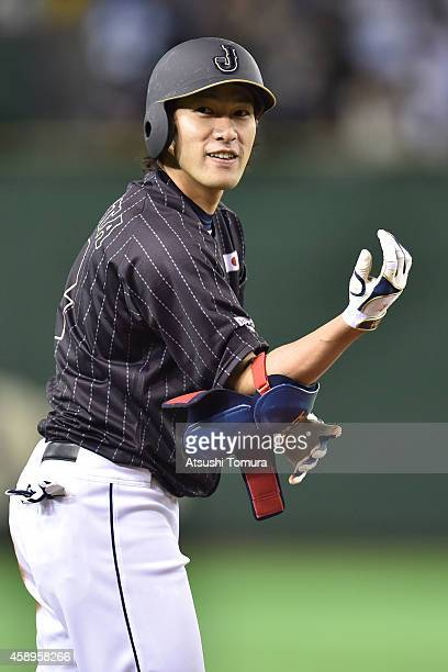 Yuki Yanagita of Samurai Japan hits an RBI tripple in the second inning during the game two of Samurai Japan and MLB All Stars at Tokyo Dome on...