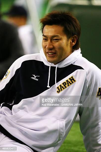 Yuki Yanagita of Samurai Japan looks on Samurai Japan v All Euro match at the Tokyo Dome on March 11 2015 in Tokyo Japan