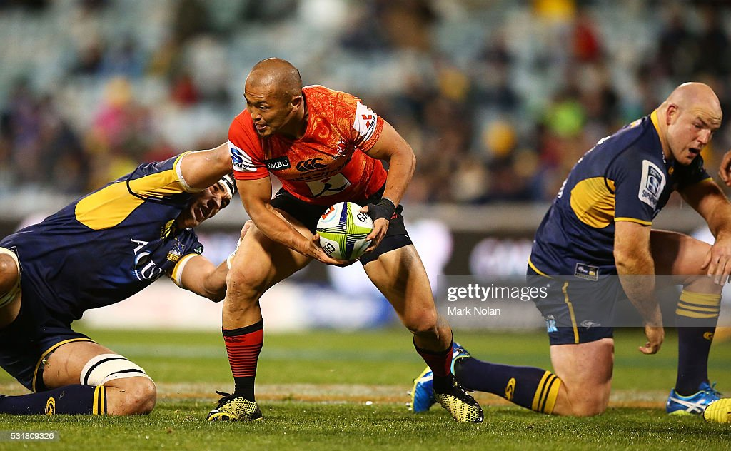 <a gi-track='captionPersonalityLinkClicked' href=/galleries/search?phrase=Yuki+Yatomi&family=editorial&specificpeople=4284408 ng-click='$event.stopPropagation()'>Yuki Yatomi</a> of the Sunwolves in action during the round 14 Super Rugby match between the Brumbies and the Sunwolves at GIO Stadium on May 28, 2016 in Canberra, Australia.