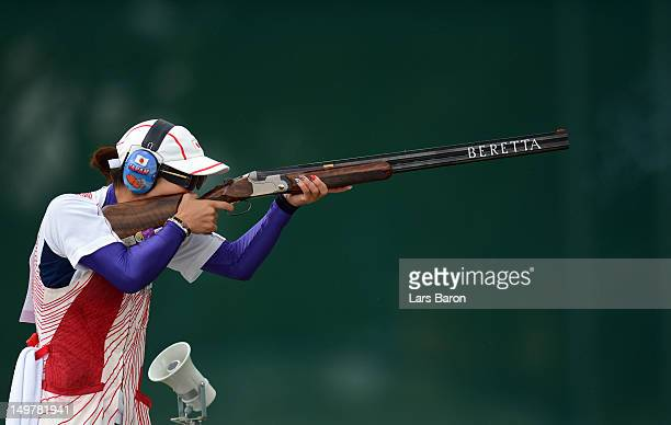 Yukie Nakayama of Japan competes during the Women's Trap Shooting Qualification on Day 8 of the London 2012 Olympic Game at the Royal Artillery...