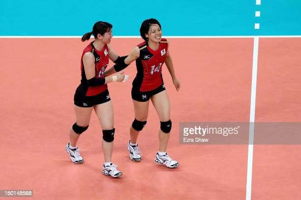 Yukiko Ebata and Saori Sakoda of Japan celebrate after defeating Korea to win the Women's Volleyball bronze medal match on Day 15 of the London 2012...