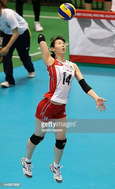 Yukiko Ebata of Japan serves during the FIVB Women's World Olympic Qualification tournament match between Japan and Chinese Taipei at Yoyogi...