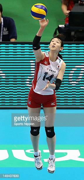 Yukiko Ebata of Japan serves the ball during the FIVB Women's World Olympic Qualification tournament match between Japan and Cuba at Yoyogi Gymnasium...