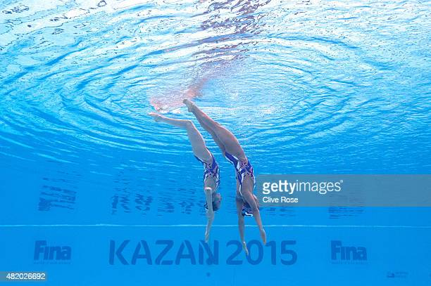 Yukiko Inui and Risako Mitsui of Japan compete in the Women's Duet Technical Synchronised Swimming Final on day two of the 16th FINA World...