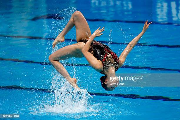 Yukiko Inui and Risako Mitsui of Japan compete in the Women's Duet Free Synchronised Swimming Final on day six of the 16th FINA World Championships...