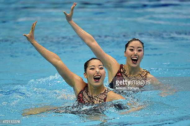 Yukiko Inui and Risako Mitsui of Japan perform their routine in the duet free routine final during day three of the Synchro Japan Open 2015 at Tokyo...