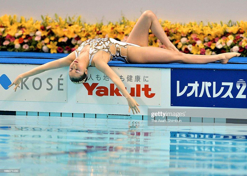 Yukiko Inui of Japan competes in the solo free routine during day three of the Japan Synchro Championships Open at Hironoshin Furuhashi Memorial Hamamatsu City General Swimming Pool on May 4, 2013 in Hamamatsu, Shizuoka, Japan.