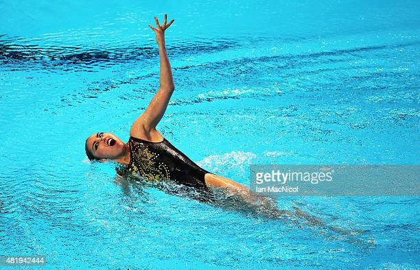 Yukiko Inui of Japan competes in the Solo Technical Syncronised swimming final during day one the16th Fina World Aquatics Championships at the Kazan...