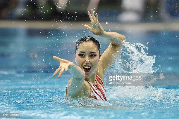 Yukiko Inui of Japan performs her routine in the solo free routine final during day three of the Synchro Japan Open 2015 at Tokyo Tatsumi...