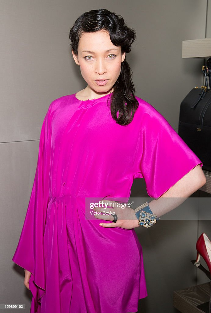 Yukimi 'Little Dragon' Nagano attends the Giorgio Armani Paris avenue Montaigne boutique opening on January 22, 2013 in Paris, France.