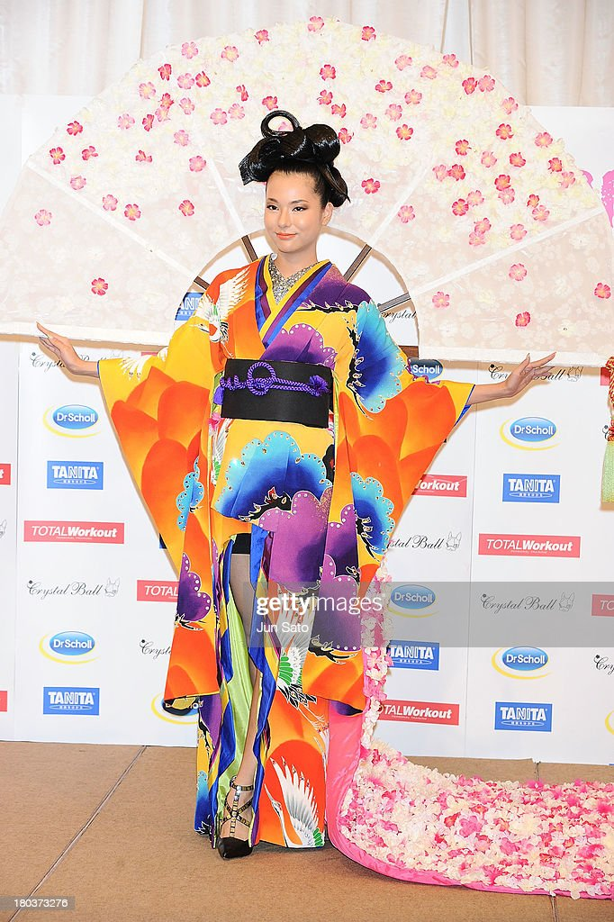 Yukimi Matsuo (2013 Miss Universe Japan) poses for photographs at Hotel Chinzanso on September 12, 2013 in Tokyo, Japan.