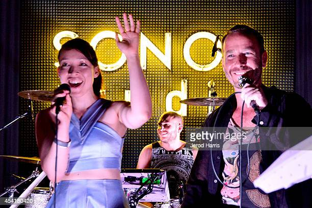Yukimi Nagano of Little Dragon and KCRW's Jason Bentley attend KCRW's taping of Morning Becomes Eclectic with Little Dragon at Sonos Studio on August...