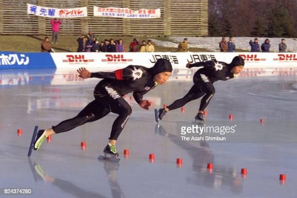 Yukinori Miyabe and Yasunori Miyabe of Japan compete in the Men's 1000m during the ISU Speed Skating World Cup at ObihironoMori Speed Skating Center...