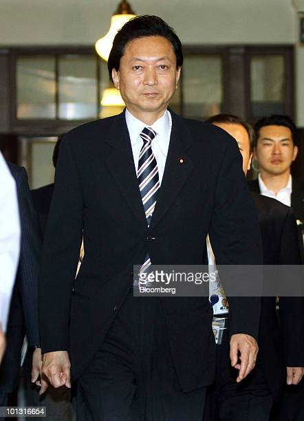 Yukio Hatoyama Japan's prime minister arrives for a meeting with Ichiro Ozawa secretarygeneral of the Democratic Party of Japan unseen at the Diet in...