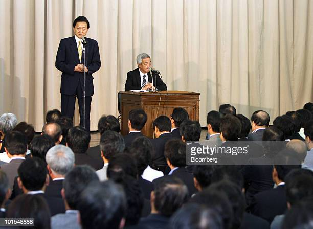 Yukio Hatoyama Japan's prime minister speaks during a meeting with lawmakers of the Democratic Party of Japan at the Diet in Tokyo Japan on Wednesday...