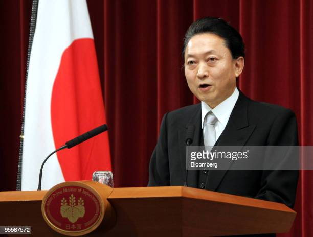 Yukio Hatoyama Japan's prime minister speaks during a news conference at the prime minister's official residence in Tokyo Japan on Monday Jan 4 2010...