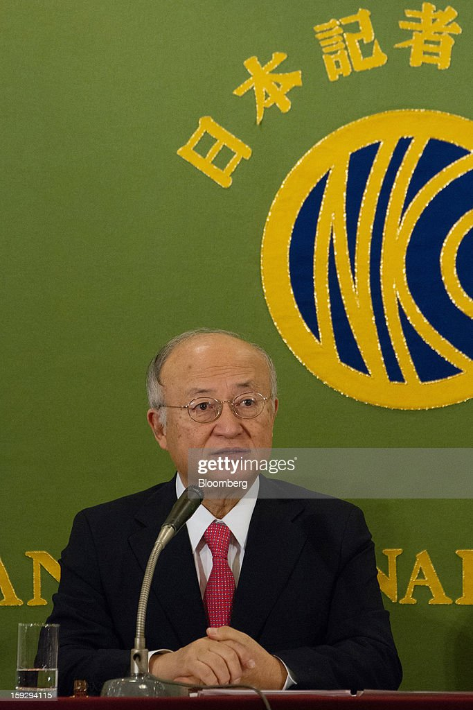 <a gi-track='captionPersonalityLinkClicked' href=/galleries/search?phrase=Yukiya+Amano&family=editorial&specificpeople=771232 ng-click='$event.stopPropagation()'>Yukiya Amano</a>, director general of the International Atomic Energy Agency (IAEA), speaks during a news conference in Tokyo, Japan, on Friday, Jan. 11, 2013. The IAEA and the Fukushima prefecture government signed an agreement on Dec. 15 to help Japan with decontamination and radioactive waste management after the Fukushima nuclear disaster. Photographer: Noriyuki Aida/Bloomberg via Getty Images