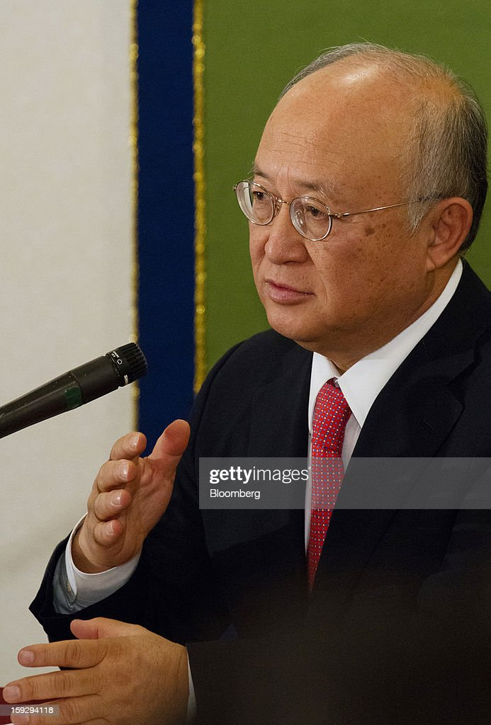 Yukiya Amano, director general of the International Atomic Energy Agency (IAEA), speaks during a news conference in Tokyo, Japan, on Friday, Jan. 11, 2013. The IAEA and the Fukushima prefecture government signed an agreement on Dec. 15 to help Japan with decontamination and radioactive waste management after the Fukushima nuclear disaster. Photographer: Noriyuki Aida/Bloomberg via Getty Images