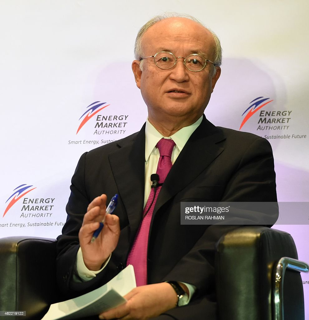 <a gi-track='captionPersonalityLinkClicked' href=/galleries/search?phrase=Yukiya+Amano&family=editorial&specificpeople=771232 ng-click='$event.stopPropagation()'>Yukiya Amano</a>, director general of the International Atomic Energy Agency, delivers a lecture in Singapore on January 26, 2015. Amano spoke on 'Atoms for Peace in the 21st Century' at the lecture organised by Energy Market Authority (EMA) .