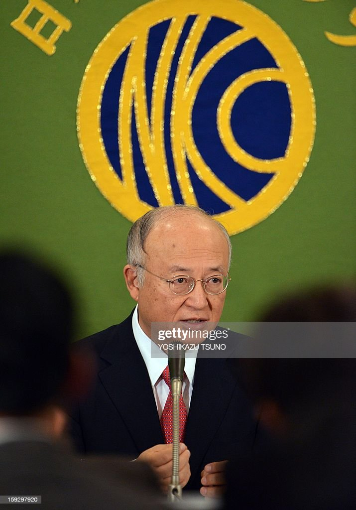 Yukiya Amano, director general of the International Atomic Energy Agency (IAEA) speaks before press in Tokyo on January 11, 2013. Amano said he was not hopeful there would be much progress in getting access to facilities that the West believes Iran is using as part of an atomic weapons programme. AFP PHOTO / Yoshikazu TSUNO