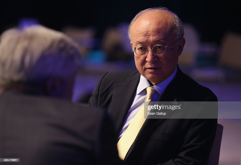 <a gi-track='captionPersonalityLinkClicked' href=/galleries/search?phrase=Yukiya+Amano&family=editorial&specificpeople=771232 ng-click='$event.stopPropagation()'>Yukiya Amano</a>, Director General of the International Atomic Energy Agency (IAEA), chats with colleagues following the closing session of the 2014 Nuclear Security Summit on March 25, 2014 in The Hague, Netherlands. Leaders from around the world have come to discuss matters related to international nuclear security, though the summit is overshadowed by recent events in Ukraine.