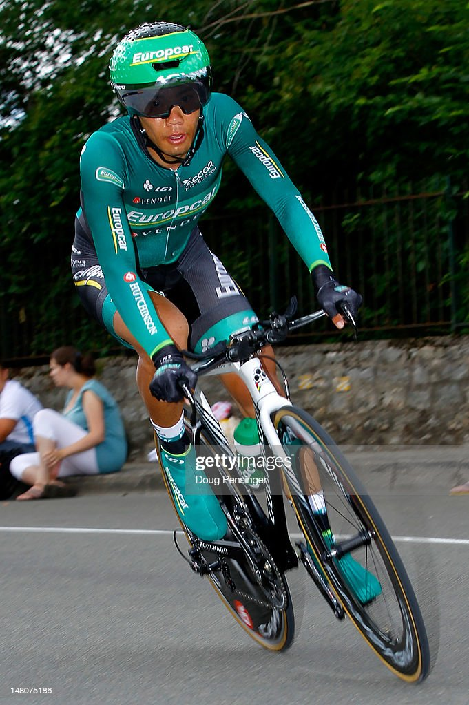 Yukiya Arashiro of Japan riding for Europcar races to 125th place in the individual time trial on stage nine of the 2012 Tour de France from Arc-et-Senans to Besancon on July 9, 2012 in Besancon, France.