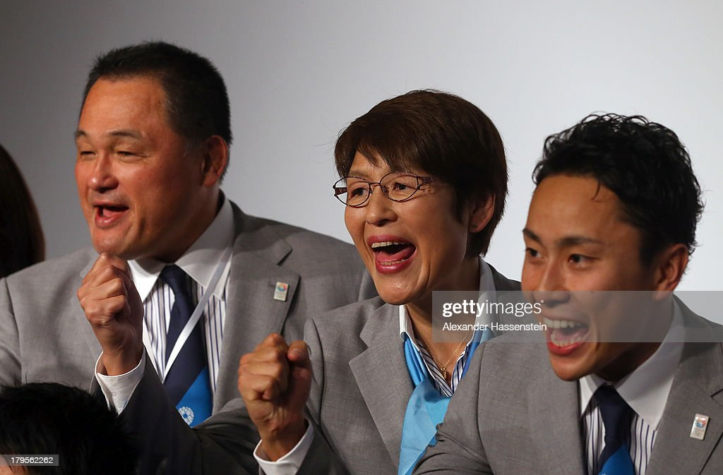 Yuko Arakida (C), Tokyo 2020 sports director, pose with <a gi-track='captionPersonalityLinkClicked' href=/galleries/search?phrase=Yasuhiro+Yamashita&family=editorial&specificpeople=2112727 ng-click='$event.stopPropagation()'>Yasuhiro Yamashita</a> (L) and <a gi-track='captionPersonalityLinkClicked' href=/galleries/search?phrase=Yuki+Ota&family=editorial&specificpeople=2956051 ng-click='$event.stopPropagation()'>Yuki Ota</a> (R) after a Tokyo 2020 Bid Committee press conference ahead of the 125th IOC Session at Sheraton Buenos Aires Hotel and Conveention Centre on September 5, 2013 in Buenos Aires, Argentina.