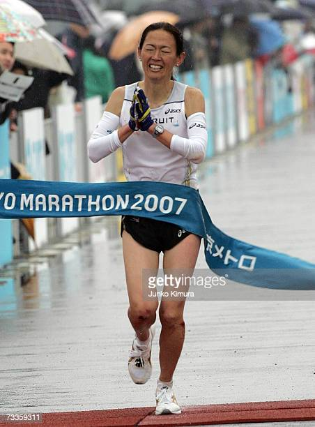 Yuko Arimori crosses the finish line during the Tokyo Marathon 2007 on February 18 2007 in Tokyo Japan 30000 people participated in the marathon...