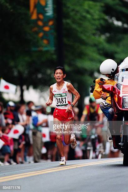 Yuko Arimori of Japan competes in the Women's marathon during the Atlanta Summer Olympic Games on July 28 1996 in Atlanta Georgia