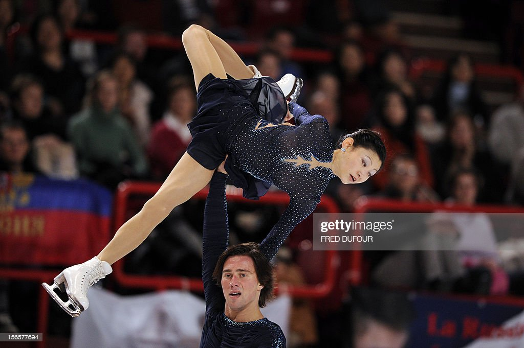 Yuko Kavaguti and Alexander Smirnov of Russia compete at the pairs free skating program during the Trophee Eric Bompard, the fifth in the six-round ISU Grand Prix figure skating series, on November 17, 2012 at Bercy congress hall (POPB) in Paris.