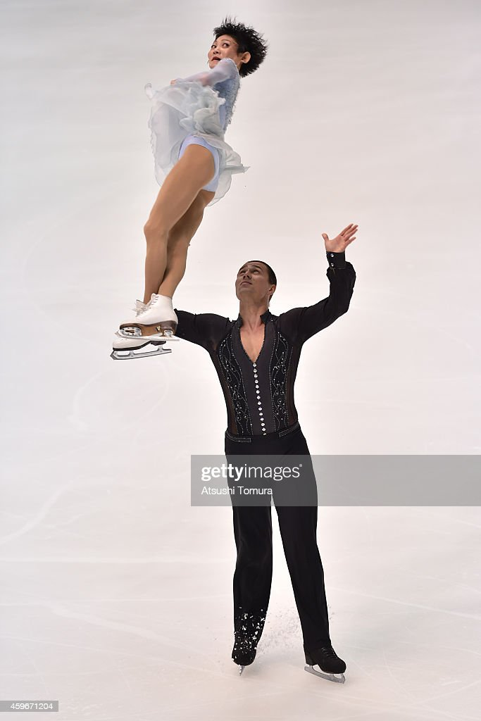 Yuko Kavaguti and <a gi-track='captionPersonalityLinkClicked' href=/galleries/search?phrase=Alexander+Smirnov&family=editorial&specificpeople=4045603 ng-click='$event.stopPropagation()'>Alexander Smirnov</a> of Russia compete in the Pairs Short Program during day one of ISU Grand Prix of Figure Skating 2014/2015 NHK Trophy at the Namihaya Dome on November 28, 2014 in Osaka, Japan.