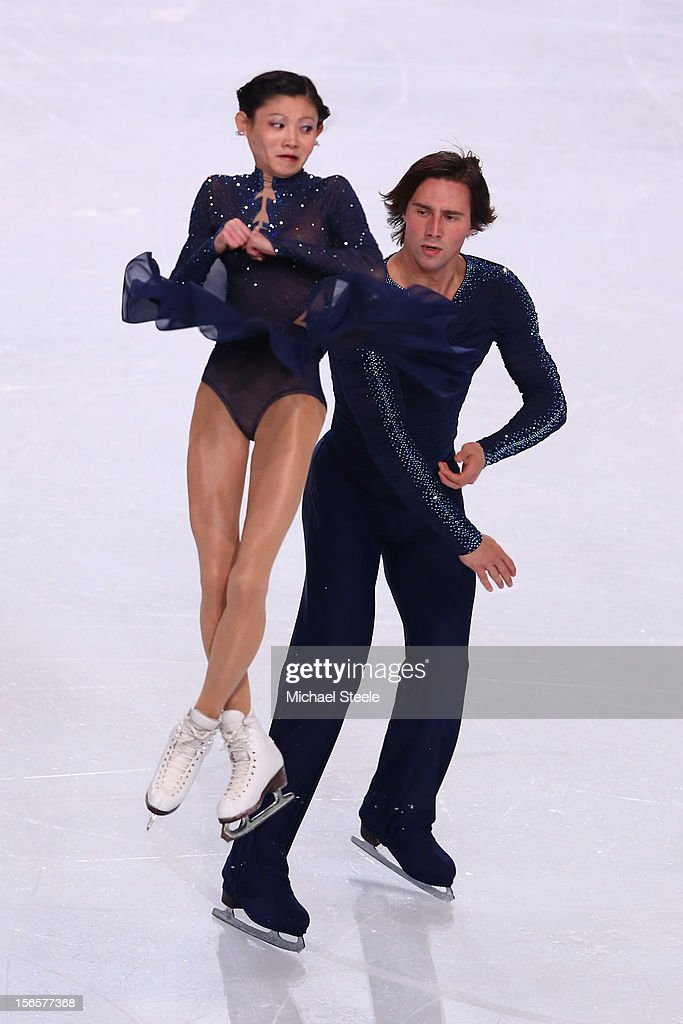 Yuko Kavaguti and <a gi-track='captionPersonalityLinkClicked' href=/galleries/search?phrase=Alexander+Smirnov&family=editorial&specificpeople=4045603 ng-click='$event.stopPropagation()'>Alexander Smirnov</a> of Russia during the Pairs Free Skating Program on day two of the ISU Grand Prix of Figure Skating Trophee Eric Bompard at Omnisports Bercy on November 17, 2012 in Paris, France.