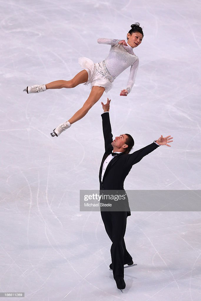 Yuko Kavaguti and <a gi-track='captionPersonalityLinkClicked' href=/galleries/search?phrase=Alexander+Smirnov&family=editorial&specificpeople=4045603 ng-click='$event.stopPropagation()'>Alexander Smirnov</a> of Russia during the Pairs Short Program on day one of the ISU Grand Prix of Figure Skating Trophee Eric Bompard at Omnisports Bercy on November 16, 2012 in Paris, France.
