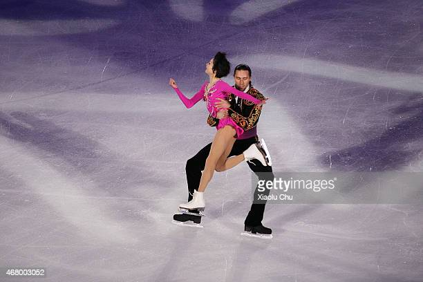Yuko Kavaguti and Alexander Smirnov of Russia perform during the Exhibition Program on day five of the 2015 ISU World Figure Skating Championships at...