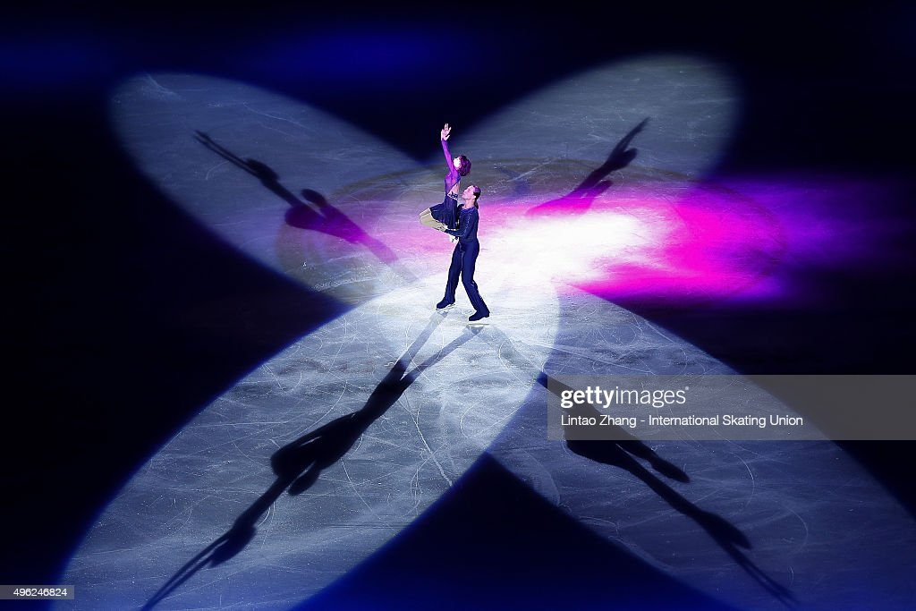 Yuko Kavaguti and <a gi-track='captionPersonalityLinkClicked' href=/galleries/search?phrase=Alexander+Smirnov&family=editorial&specificpeople=4045603 ng-click='$event.stopPropagation()'>Alexander Smirnov</a> of Russia perform during the Exhibition Program on day three of Audi Cup of China ISU Grand Prix of Figure Skating 2015 at Beijing Capital Gymnasium on November 8, 2015 in Beijing, China.
