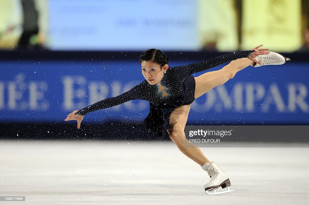 Yuko Kavaguti of Russia competes with Alexander Smirnov (not pictured) at the pairs free skating program during the Trophee Eric Bompard, the fifth in the six-round ISU Grand Prix figure skating series, on November 17, 2012 at Bercy congress hall (POPB) in Paris.